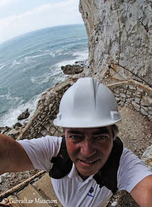 Clive Finlayson descending to Gorham's Cave on Gibraltar, one of the last holdouts of the Neandertals.